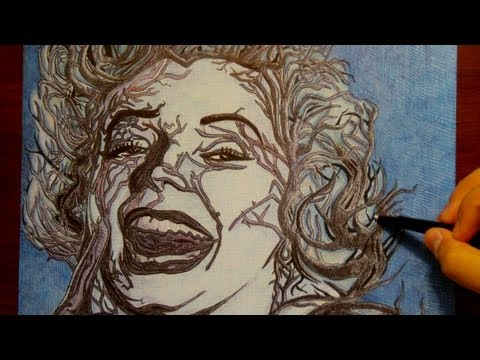 """MARILYN MONROE"" Surreal Drawing with Ballpoint Pen"