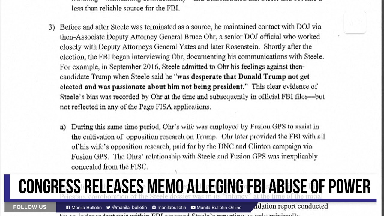Congress releases memo alleging FBI abuse of power