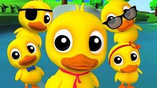 Cinco patos pequenos  rimas de berçário para crianças Kids Songs Five Little Ducks Farmees Português