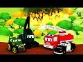 Devriye Aracı itfaiye kamyonu ve polis arabası ve Orman Yangını | Kamyonlar çocuklar için çizgi film