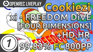 Cookiezi | xi - FREEDOM DiVE [FOUR DIMENSIONS] HDHR FC 99.83% 800pp | Livestream w/ chat reaction!