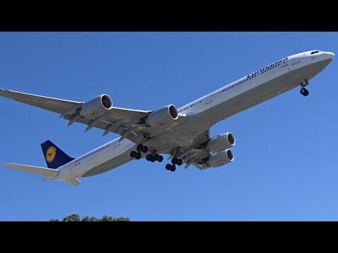 Lufthansa Airbus A340-600 [D-AIHL] landing at Los Angeles (LAX/KLAX)