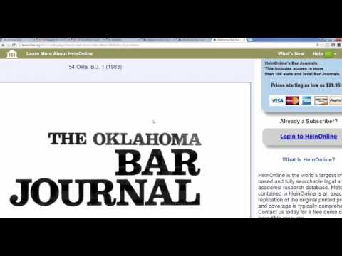 Researching Oklahoma Bar Journal with HeinOnline