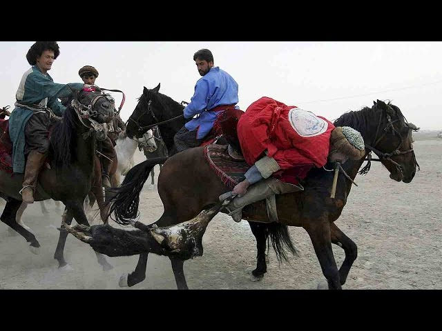 Traditional 'goat-pulling' match held by Afghan horsemen