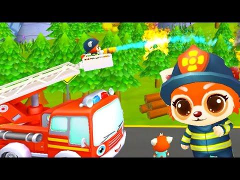 Маленький пожарник Енот. Про пожарную машину мультфильм. Пожарная машина тушит пожар. Пожарники