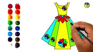 How to draw a wonderful dress For Kids   PRETTY DRESSES   Coloring Page Barbie Dresses