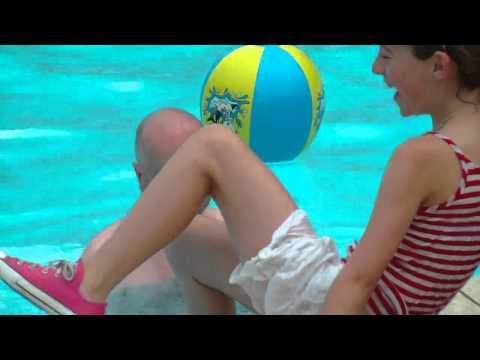 Alana falling into pool