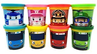 Play-Doh Robocar Poli and Tayo the Little Bus Toys Learn Colors for Kids Tayo Amber Helly Roy Poli