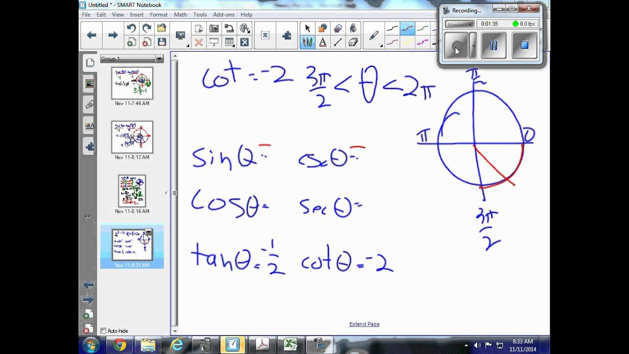 how to find base angle trig functions