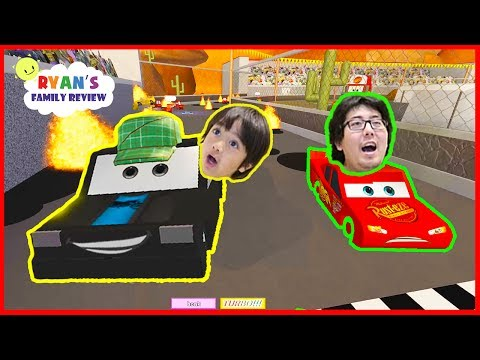 Disney Cars 3 Save Lightning McQueen Roblox Obby!! with Ryan's Family Review