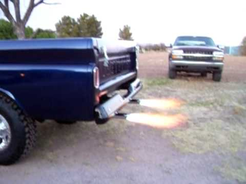 My Truck With Dual Exhaust Flame Throwers and Train Horn