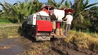 Máy gặt đập liên hợp   KUBOTA dc 70 DÍNH LẦY   máy gặt đập kubota DC 70   Nguyễn khắc tăng