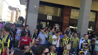 Olympiakos and Fenerbahce Ulker supporters Madrid 2015