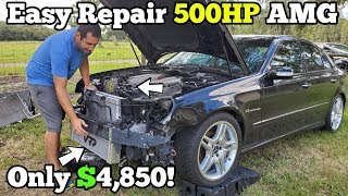 Rebuilding and Modding a Salvage Supercharged Mercedes AMG! Gained 40 Wheel HP in Under 40 Minutes!
