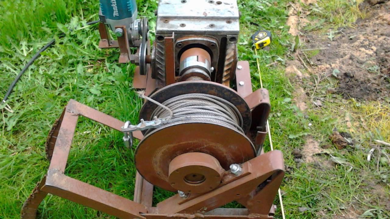 Электролебёдка для вспашки огорода часть 1