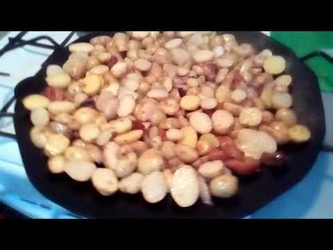 жареная картошечка на диске бороны, самоделная сковорода .