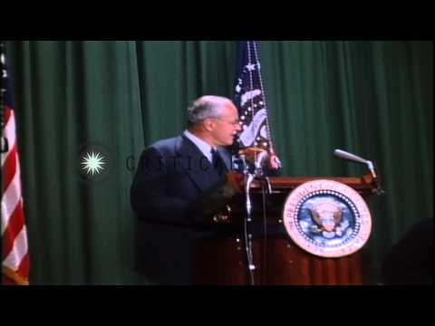 Link to order this clip: http://www.criticalpast.com/video/65675030283_John-F-Kennedy_John-A-McCone_Allen-W-Dulles_Kennedy-addresses-crowd Historic Stock Foo...