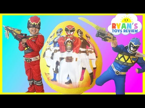 GIANT EGG SURPRISE OPENING POWER RANGER DINO CHARGE Kinder Egg Nickelodeon Toys Kids Video