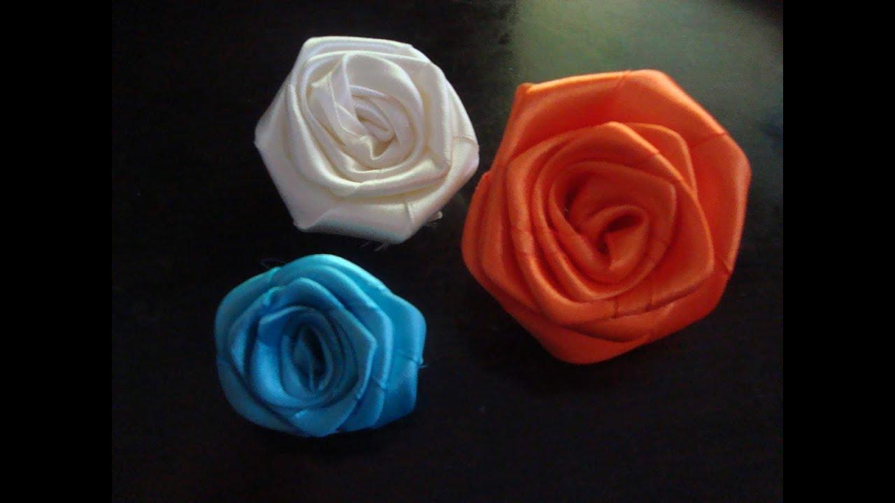 Faire une fleur en ruban de satin tr s facil a flower with the satin ribbon - Comment faire une fleur ...