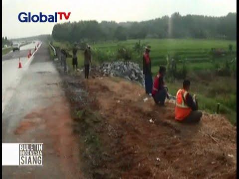 Waspada! Tebing penahan ruas tol di Cipali, KM 87 mengalami longsor - BIS 27/06