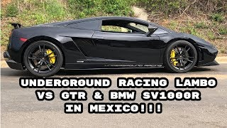 Twin Turbo Lamborghini vs GTR and Bikes + Cops ! 180+MPH