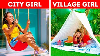 City Girl VS Village Girl || Useful Outdoor Hacks by 5-Minute DECOR!