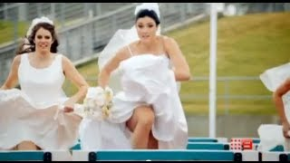 Michelle Jenneke hurdles in wedding dress