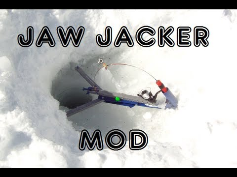 How to set up the jawjacker hook setter when ice fishing for Jaw jacker ice fishing