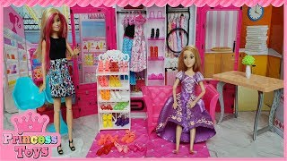Barbie Morning routine Rapunzel Supermarket Shopping باربى روتين صباحىlPrincess Toys