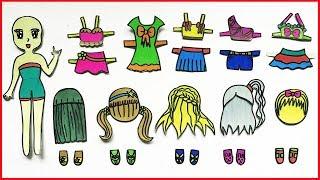 Tự làm búp bê giấy, thiết kế đồ bơi bikini quần áo tắm baby, Paper doll bikini craft (Chim Xinh)