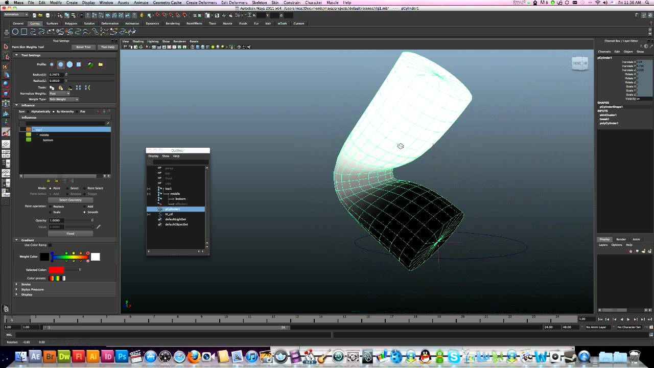 3d maya tutorial paint skin weight tool youtube