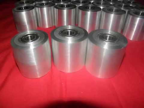 Aluminum contact idler and tracking wheels for belt grinder knife making. for sale.