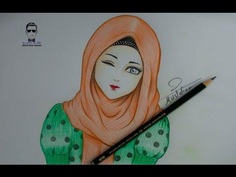 Drawing Girl With Hijab رسم فتاة انمي بالحجاب