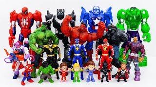 Power Rangers & Marvel Avengers Toys Pretend Play   Red Hulk, Super Hero Defeat Darkseid Villains