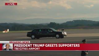 President Trump's motorcade leaves Tri-Cities Airport