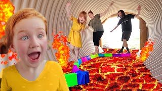 HOT LAVA Family Race!!  Adley makes a new obstacle course at park with Mom & Dad (monster challenge)