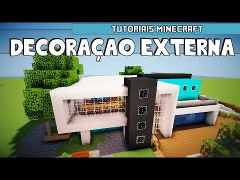 Tutoriais Minecraft: Decoração Externa da Casa Moderna 6