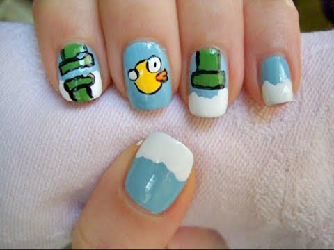 Flappy Bird Nail Art!!