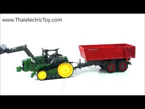 รถการเกษตรบังคับ John Deere 9RT Tractor พร้อมบรรทุกพ่วง ยาวรวม 24 นิ้ว สเกล 1/28 ราคา 1.290 บาท