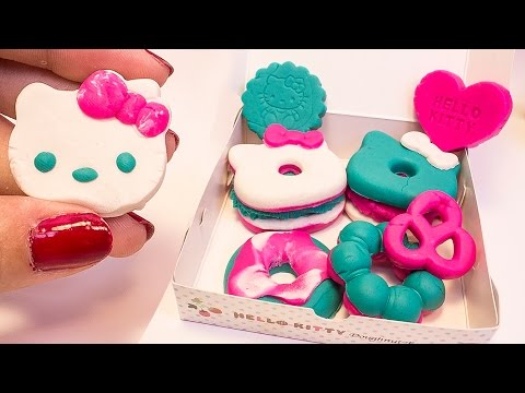 Hello Kitty Play Doh Donuts How to make Playdough Doughnuts DIY ハローキティ  キャラクター  サンリオ Dough