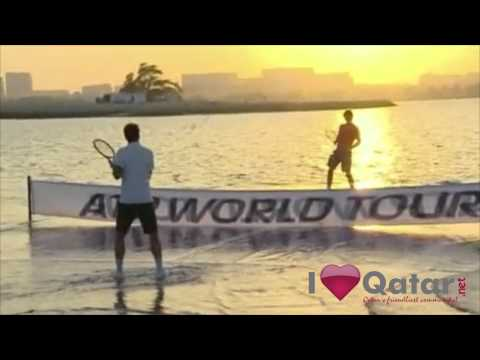 Rafael Nadal and Roger Federer play on Water court! - Qatar