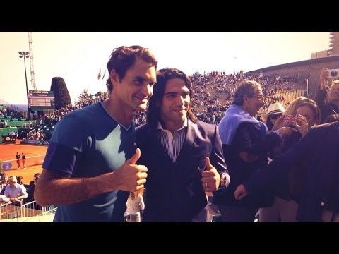 Great meeting between Falcao, Roger Federer and Novak Djokovic at the Monte-Carlo Rolex Masters !!