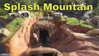 [4K] Splash Mountain ride Disneyland - FRONT ROW (Low Light): Log Flume Attraction POV