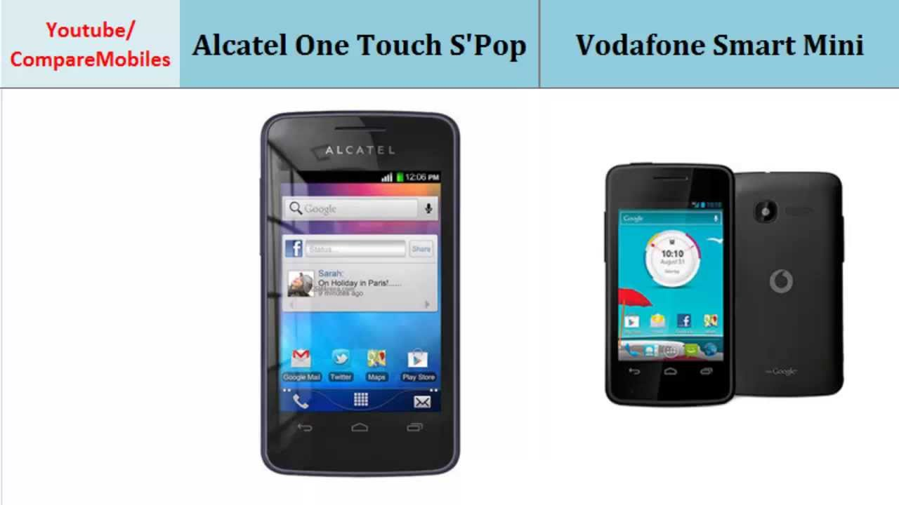 Alcatel One Touch S'Pop to Vodafone Smart Mini, specs ...