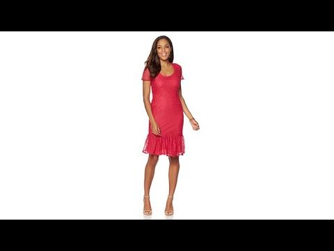 Slinky Brand ShortSleeve Fit and Flare Crochet Dress