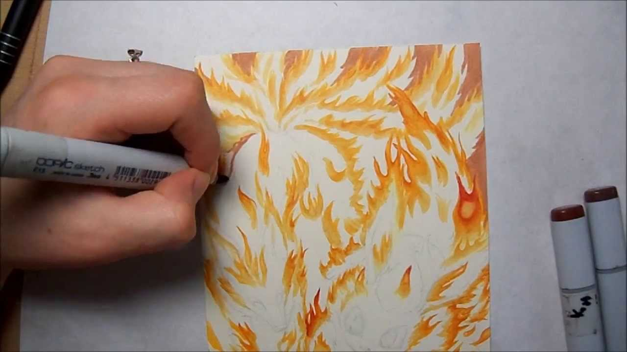 copic marker tutorial characters engulfed in flames youtube