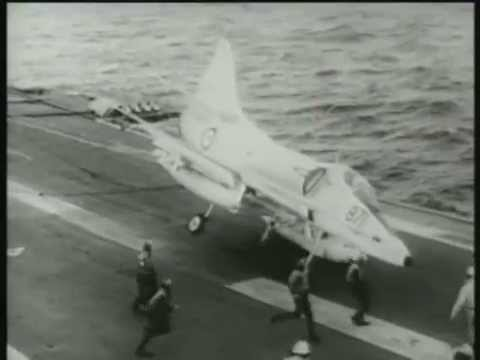 A4G Skyhawk on HMAS Melbourne Deck Ops early 1970s