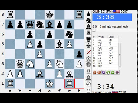 LIVE Blitz (Speed) Chess Game #2011 vs GUINEO (2097) FM - White - Grob - pioneered by IM Basman