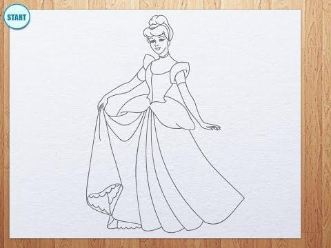 Видео как нарисовать принцессу Золушку