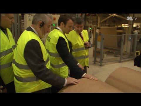Emmanuel Macron en visite à l'usine Gascogne de Mimizan
